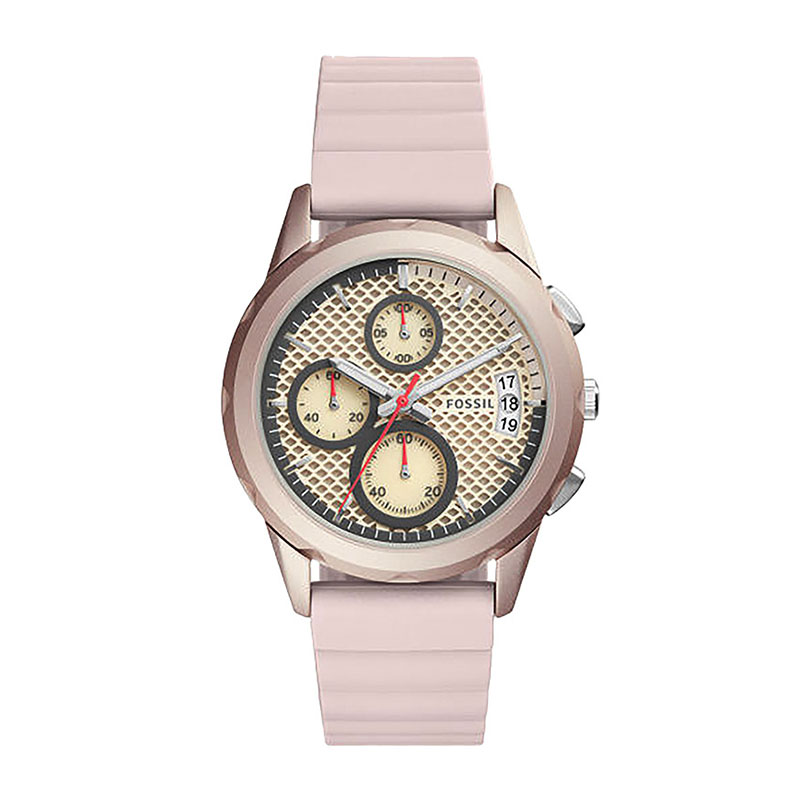 Jual FOSSIL Modern Pursuit Chronograph Beige Dial Pink Silicone Strap Ladies Watch - [ES4172]