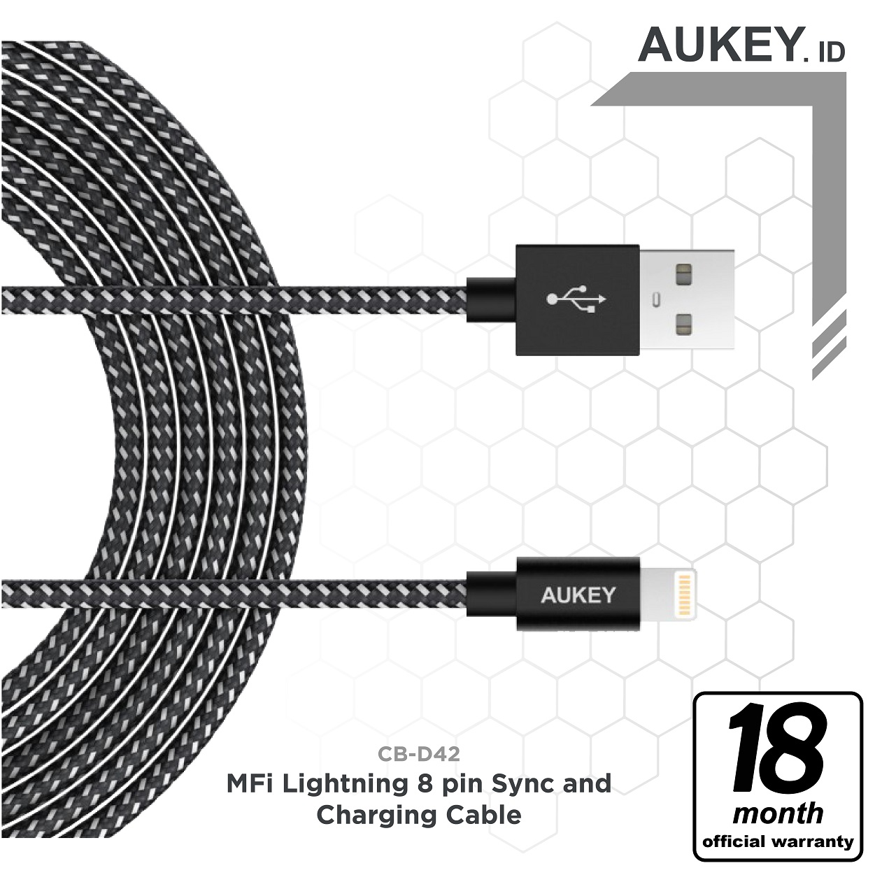 Jual Free Ongkiraukey Lightning Cable 2 M Braided Nylon Apple Mfi Orico Mdc 10 Strong Micro Usb Data Fast Charging Certified Cb D42 Black Aukey Indonesia