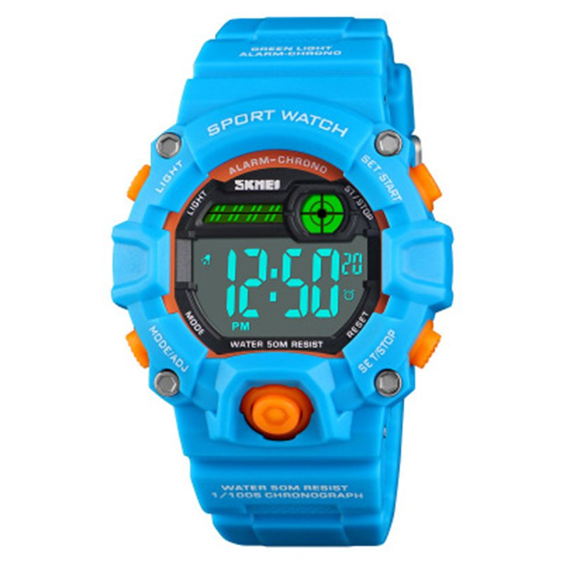 SKMEI 1484 Kids Watch Digital Wristwatch 50M Waterproof Boys Girls Alarm Watch sky blue