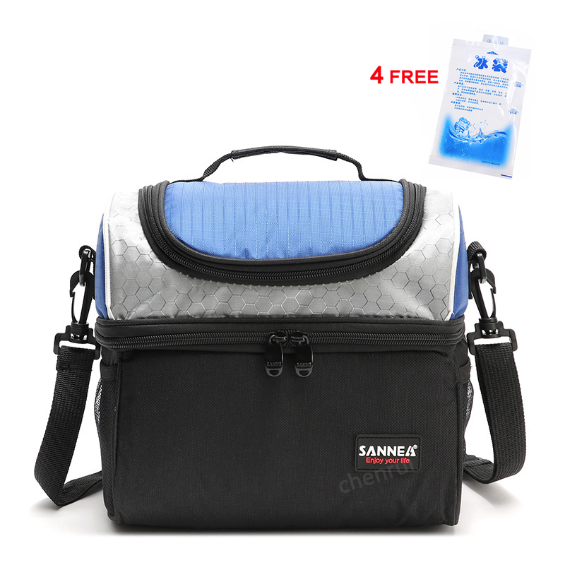 Thermal Insulation Cooler Bag Double Deck Mummy Milk Storage Bag Blue