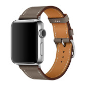 APPLE Watch Hermes - 38mm Etoupe X Swift Leather Single Tour (with Extra Hermes Sport Orange Strap)