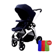 JETTE Justin Stroller Navy JET14-235-IND02 + Free Memory Foam Pad Buggy mixed color