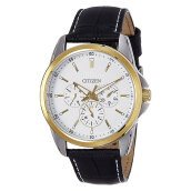 Citizen AG8344-06A Men White Dial Black Leather Strap [AG8344-06A]