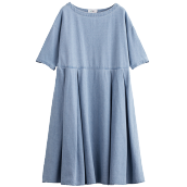 INMAN 1882102807H Boat Neck Women Mid Long Loose Style Round Collar Ploy-Cotton Dress