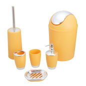 [OUTAD] 6PCS Electroplated Plastic Bathroom Toiletries Set Lotion Bottle Trash Bin Yellow