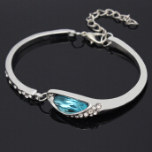 SESIBI Fashion Silver Plated Bangles Bracelets for Women Blue Crystal Stone Bracelet One Size - Silver + Blue Crystal