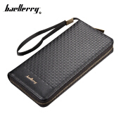 Fashionmall Men 's stylish Business Plaid Leather Clutch and Hand Zipper Wallet Card holders