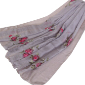 SiYing Japanese and Korean sweet embroidered chiffon women's long scarf
