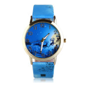 [LESHP]PU Leather Strap Women Men ELK Pattern Glass Dial Quartz Wrist Watch Blue