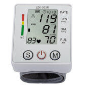 Wrist Blood Pressure Monitor Digital LCD Screen Heart Pulse Monitor Device White