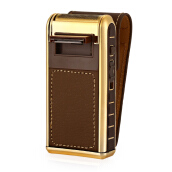 KEMEI 2 in 1 Electric Rechargeable Men Razor Vintage Leather Wrapped Reciprocating Shaver Coffee