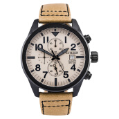 Citizen AN3625-07X Classic Chronograph Men Beige Dial Beige Leather Strap [AN3625-07X]