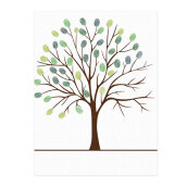 Colorful Guest Book Personalized Love Tree Wedding Fingerprint Painting Green