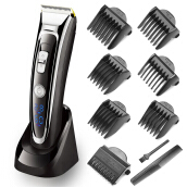 SURKER Rechargeable Hair Clipper Trimmer Beard Shaver Cordless Washable LED Display Ceramic Blade Silver