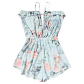 Fashionmall Trendy Spaghetti Strap Backless Flora Print Ruffle High Waist Women Romper