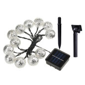 Solar Power String Light 10pcs LEDs Morocco Ball Party Outdoor Decoration Warm white