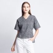 ART.TIK-SHORT SLEEVES STRIPED PRINTED BLOUSE WITH BACK RIBBON-Black