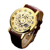 BANGLONG Hollow Carved Skeleton Strap Leather Watch -Onesize -