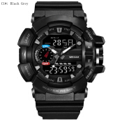 SESIBI Mens LED Quartz Watches Military Army 30M Waterproof Dive Watch Boy Dual Digital Sports Wristwatch -