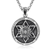 BANGLONG 1PC Restoring Ancient Relief Six-pointed star Flame Pendant Chain Necklace -One Size - Silver