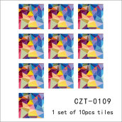 Colorful Mosaic Design Self Adhesive Tile Stickers for Kitchen Decal Multicolor 10PCS/Bag