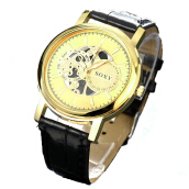 BANGLONG Fashion Hollowed Skeleton Watch Leather Strap Hand Watches -Onesize -Gold