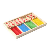 COZIME Math Manipulatives Wooden Counting Sticks Kids Preschool Educational Toys Multicolor