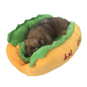 Jantens Hot dog bed pet winter bed warm dog house pet sleeping bag comfortable puppy nest Yellow M