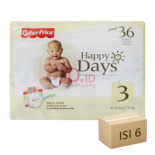 FISHER PRICE Popok Happy Days - Karton Isi 6 [Size 3 - 36]