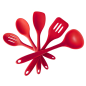 Anamode 5pcs Silicone Non-stick Kitchen Cooker Kitchen Tools Utensils Set - Red