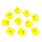 COZIME 10pcs Baby Bathing Bath Tub Toys Mini Rubber Squeaky Float Duck Yellow