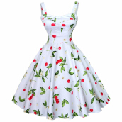 Jantens Summer dress retro dress big swing floral girl women Audrey Hepburn dress Vestidos