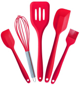 Anamode 5Pcs Silicone Cooking Tools Kitchen Utensils Set Bakeware - Red -Onesize