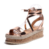 BESSKY Ladies Women Roman Shoes Platform Woven Thick-Bottom Waterproof Wedge Sandals_