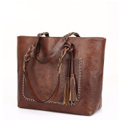 Jantens Vintage Tote Bag Brown Leather Shoulder Bag Lady Vintage Tote Large PU Tote Bag Dark Brown