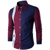 Fashionmall Slim-Fit Two Tone Long Sleeve Shirt