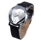 Stainless Steel Hollow Triangule Dial PU Leather Band Quartz Wrist Watch