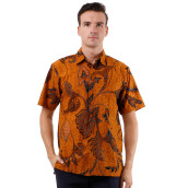 DANAR HADI Mens Short Sleeve Batik LKRB2 - Brown
