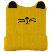 Cute Baby Child Cartoon Animal Cat Shape Autumn Winter Flanging Hat YELLOW