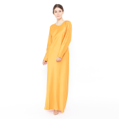 LUIRE Long Sleeve Satin Long Dress - Orange