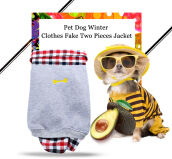Stylish Pet Dog Winter Wear Resistant Plaids Shirt Fake Two Pieces Jacket