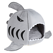 Lovely Soft Shark Mouse Shape Doghouse Pet Kennel with Cushion