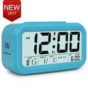 TXL Digital Alarm Clock Large LCD Display Snooze Student Kids Clock Light Sensor Calendar Temperature Date Nightlight Table Clo