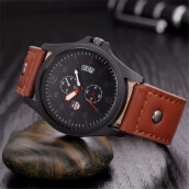 BESSKY Military Leather Waterproof Date Quartz Analog Army Men's Quartz Wrist Watches-