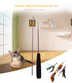 Multiple Feather Interactive Cat Wand Teaser Playing Toy