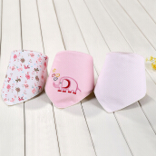 Mother Nest 3pcs  Triangle Bibs Cute Cotton Double layer Double Snaps Adjustable Fashion Bibs
