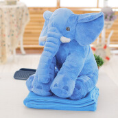 Stuffed Simulation Giant Elephant Plush Doll Toy Pillow with Blanket(Azure)