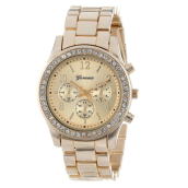 BESSKY Faux Chronograph Quartz Plated Classic Round Ladies Women Crystals Watch_