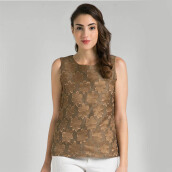 INDEFINI Arista Jacquard Blouse - Brown