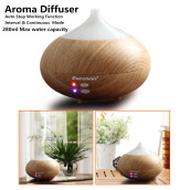 Excelvan 280ml Aroma Diffuser Ultrasonic Humidifier Aromatherapy Purifier Light Woodgrain SMILE-1 EU